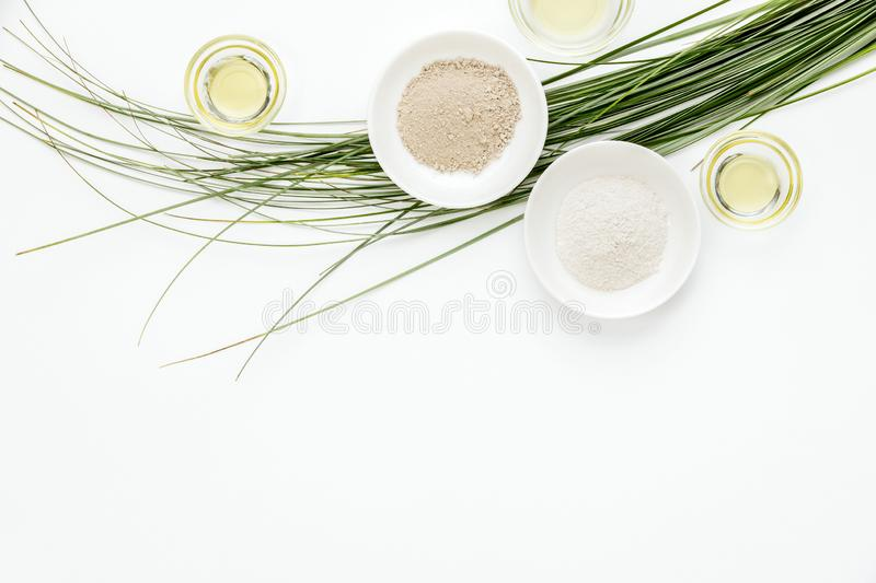 Spa treatment concept with clay and natural oils royalty free stock images