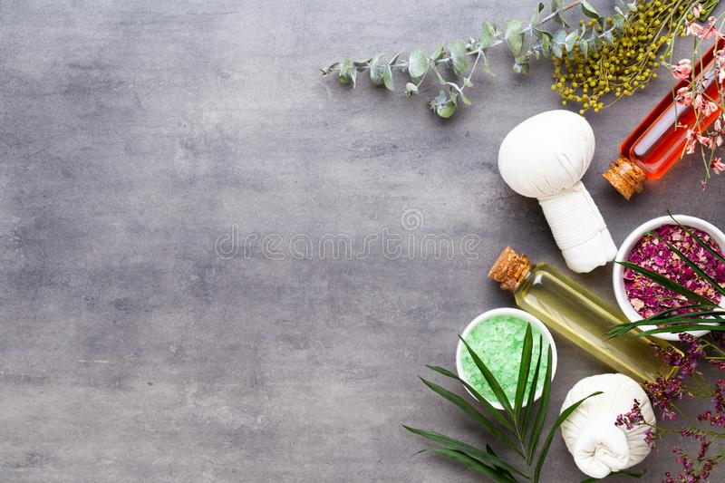 Spa treatment concept, flat lay composition with natural cosmetic products and massage brush, view from above, blank space for a stock photos