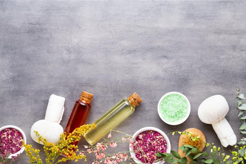 Spa treatment concept, flat lay composition with natural cosmetic products and massage brush, view from above, blank space for a royalty free stock photography