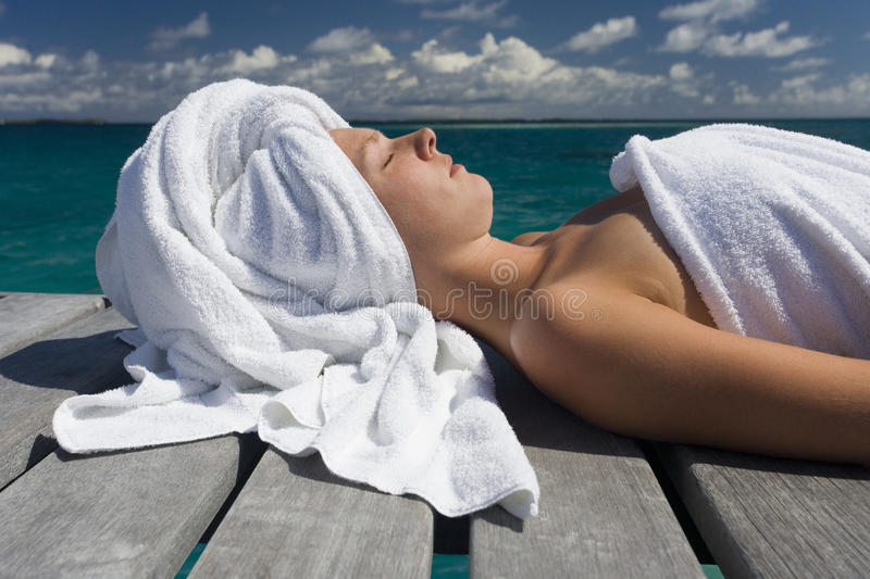 Spa Treatment on vacation in the South Pacific royalty free stock photos