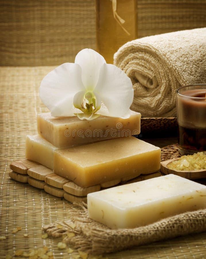 Spa Treatments. Sea Salt & Handmade Soap. Close-up Image stock photography