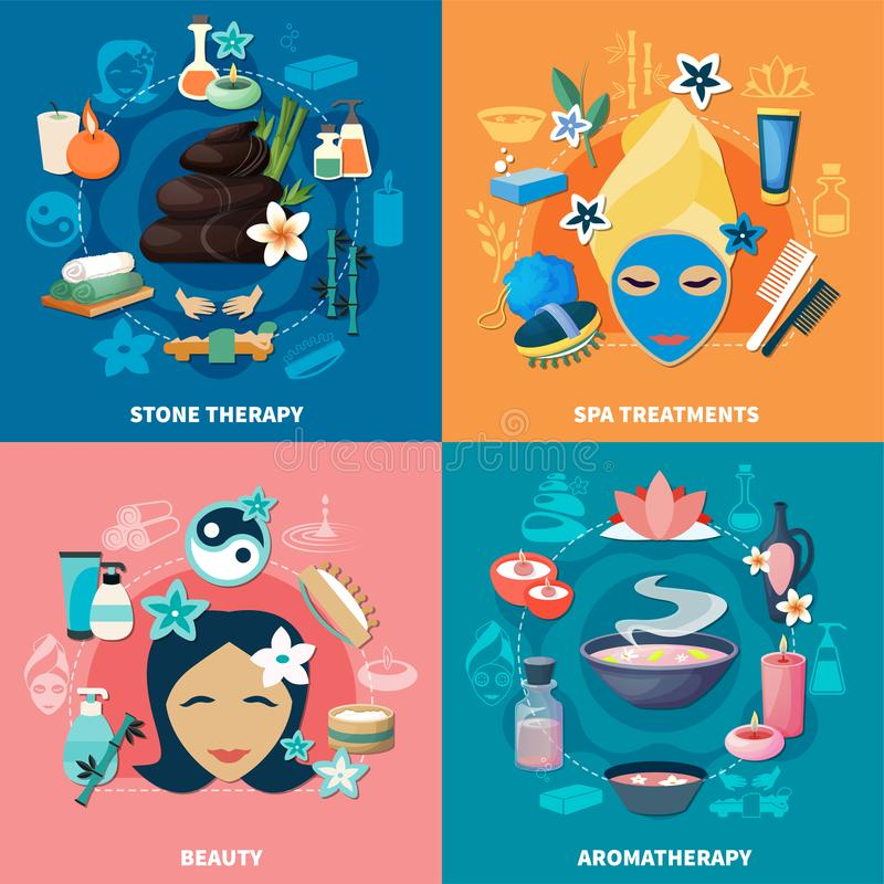 Spa Treatments 4 Flat Icons Stock Vector - Illustration of isolated ...