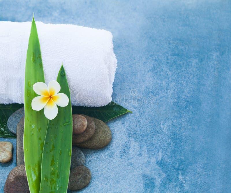 Spa uppsättning för sund behandling för massage på blå bakgrund arkivbild