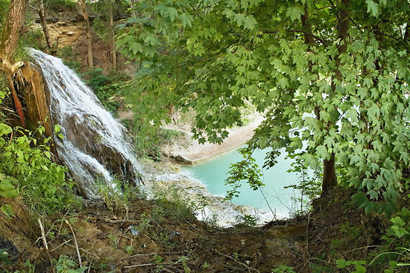 SPA & village Lucky, Slovakia. Waterfall Lucky - gorgeous view of the water trickling waterfall stock photo