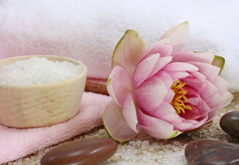 Spa with water lily royalty free stock images