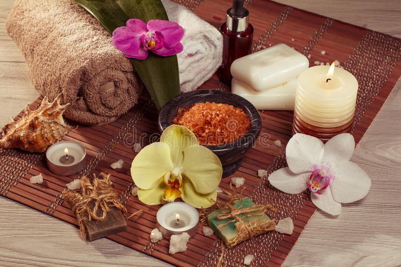 Spa and wellness accessories View from above stock image