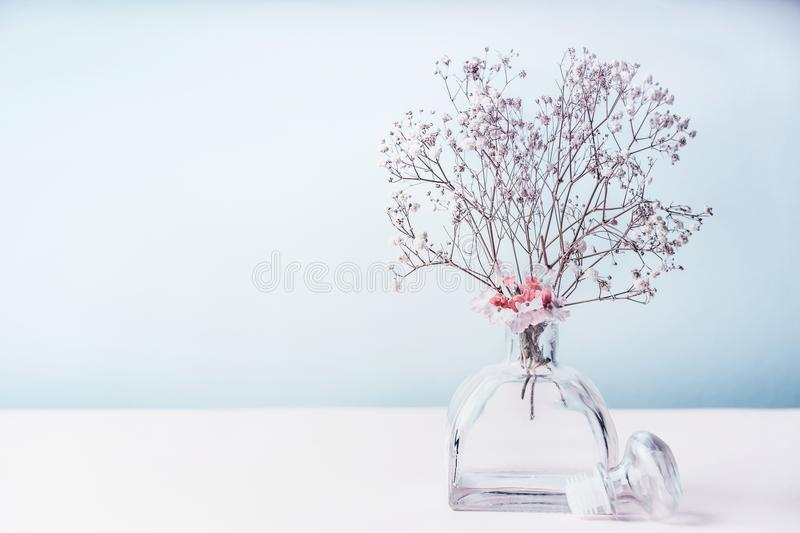 Spa or wellness background with aromatherapy, air freshener of floral essential oil in pastel color royalty free stock images