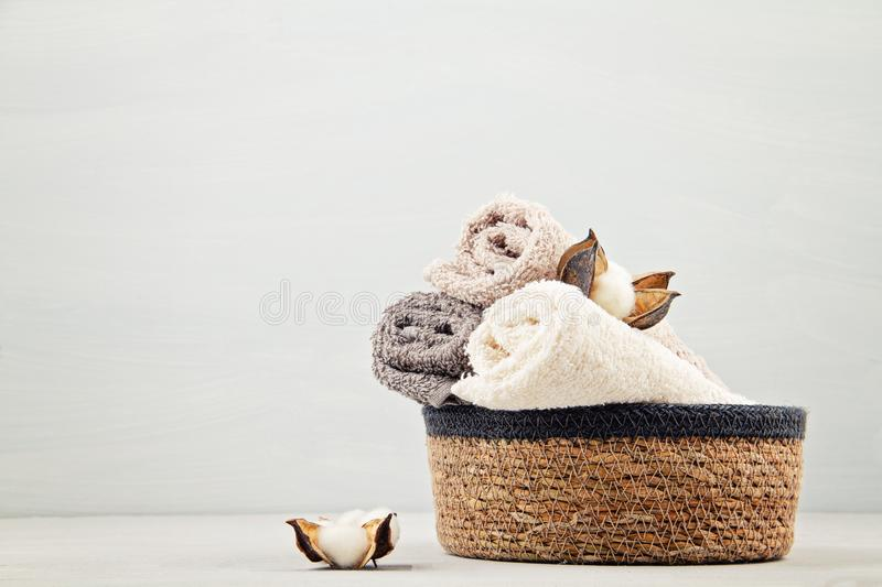 Spa and wellness composition with towels and beauty products. Wellness center, hotel, bodycare. Hygiene concept stock photos