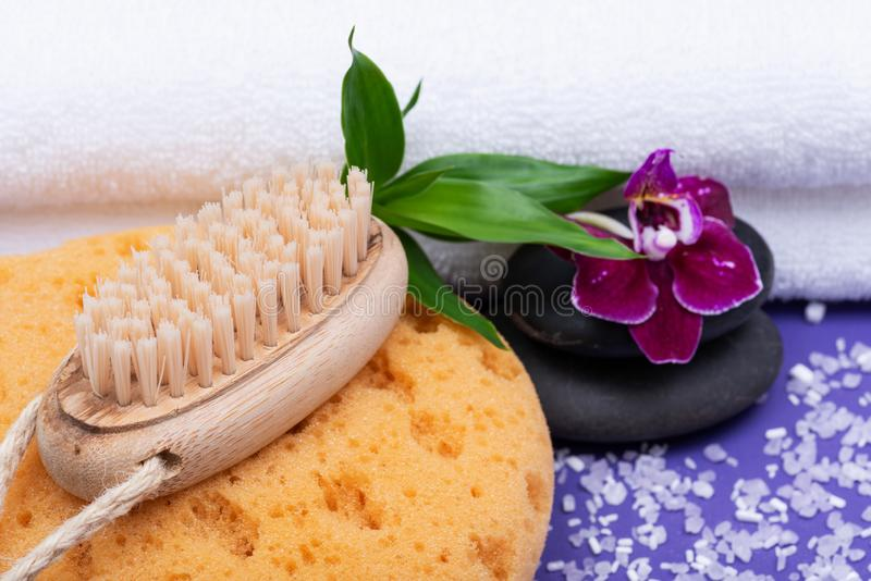 Spa Wellness Concept. Foam Bath & Shower Sea Sponge, Natural Bristle Wooden Brush, Basalt Stones, Bamboo and Orchid Flower. On purple background royalty free stock images