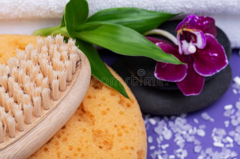 Spa Wellness Concept. Foam Bath & Shower Sea Sponge, Natural Bristle Wooden Brush, Basalt Stones, Bamboo and Orchid Flower. On purple background stock image