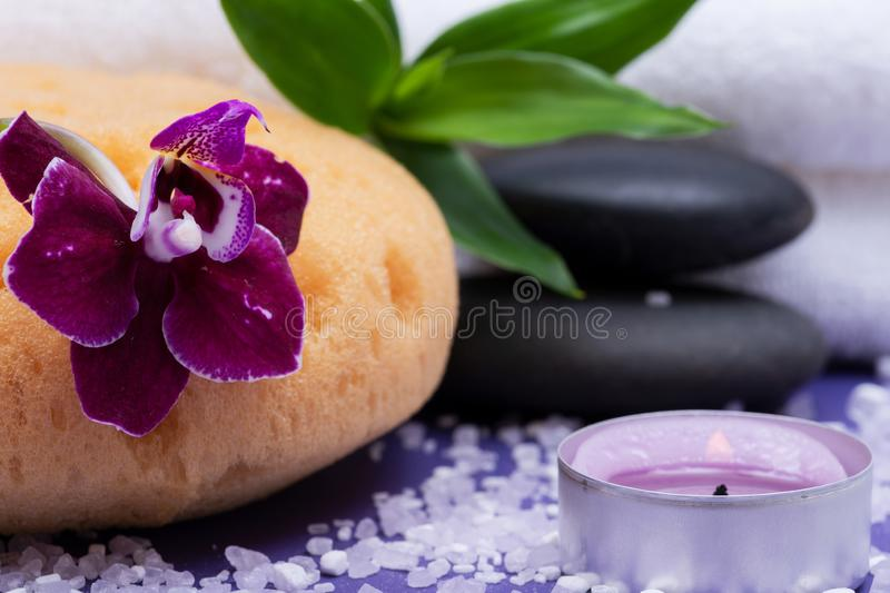 Spa Wellness Concept. Natural Foam Sea Sponge, Basalt Stones, Bamboo, Orchid, burning Lavender Tea Light Candle and Epsom Salt. On purple background royalty free stock photos