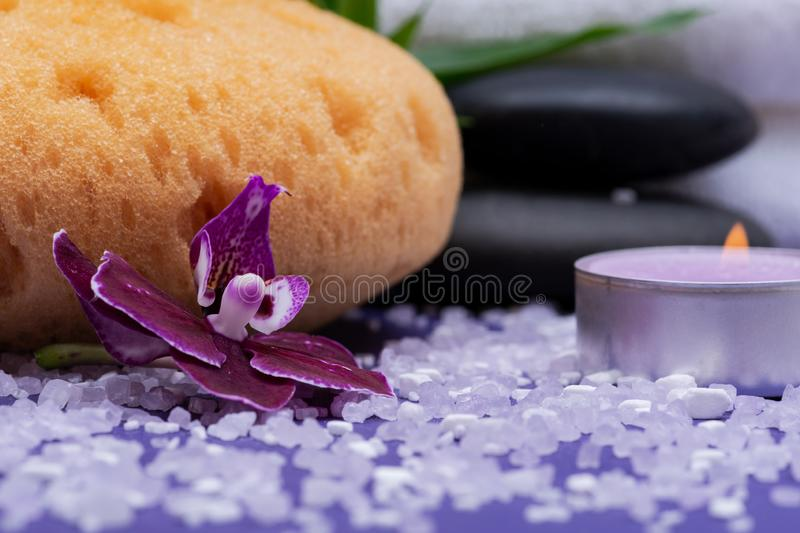 Spa Wellness Concept. Natural Foam Sea Sponge, Basalt Stones, Bamboo, Orchid, burning Lavender Tea Light Candle and Epsom Salt. On purple background stock image