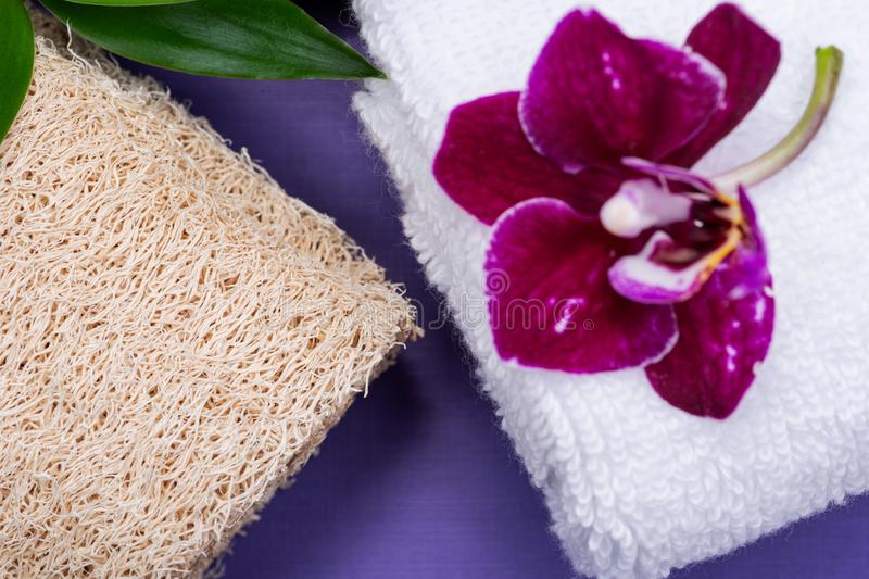 Spa Wellness Concept. Natural Loofah Sponge, rolled up White Towels, stacked Basalt Stones, Bamboo and Orchid Flower on purple. Background stock image