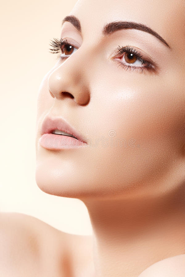 Spa wellness & health care. Model with clean skin stock photography