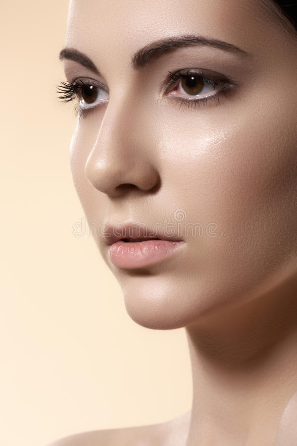 Spa wellness & health care. Model with clean skin stock images