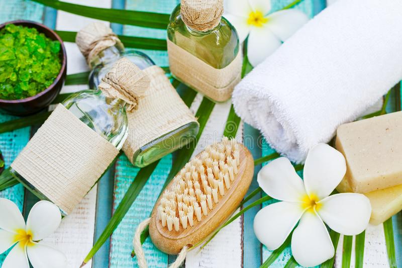 Spa and wellness massage setting with towel royalty free stock photos