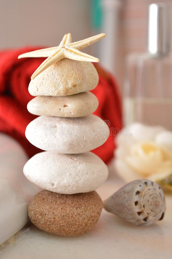 zen corporate Spa beauty stones for wellness massage in spa towell bath hygiene relax stones tower pebbles tower stock image