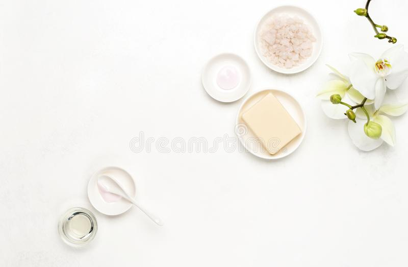 Spa white background with blank space for a text royalty free stock photo