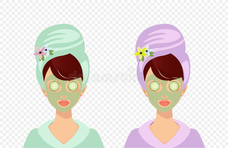 Girl with Towel Applying Facial Mask with Cucumber stock illustration