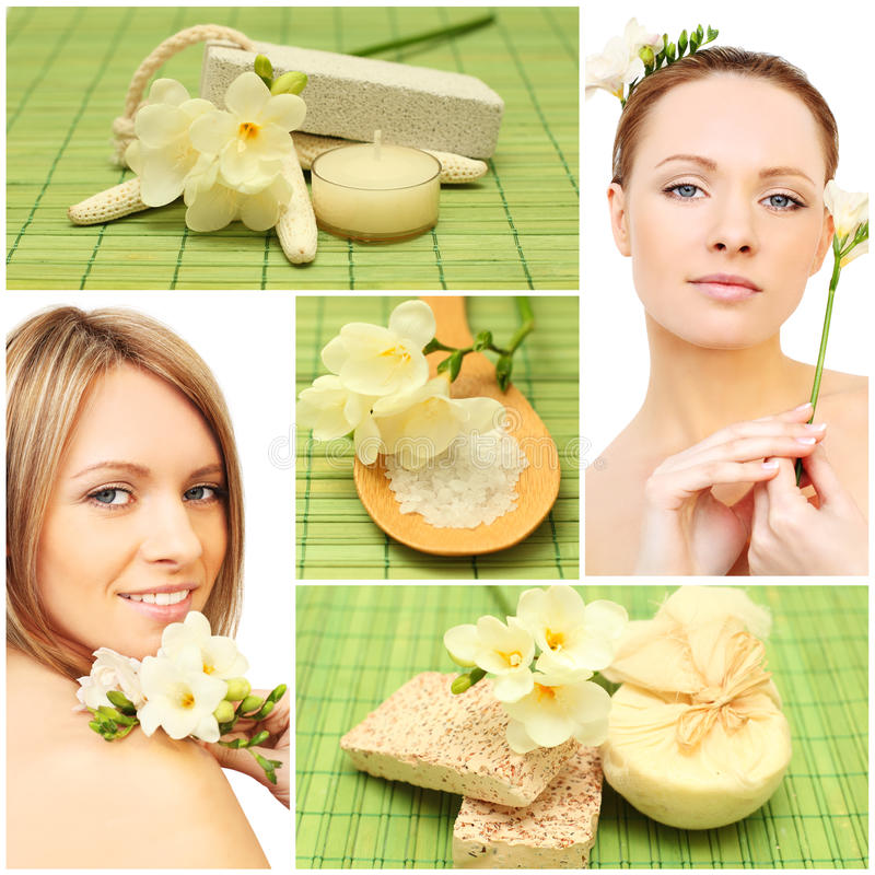 Spa - woman, bath soap, cosmetic, flower royalty free stock image