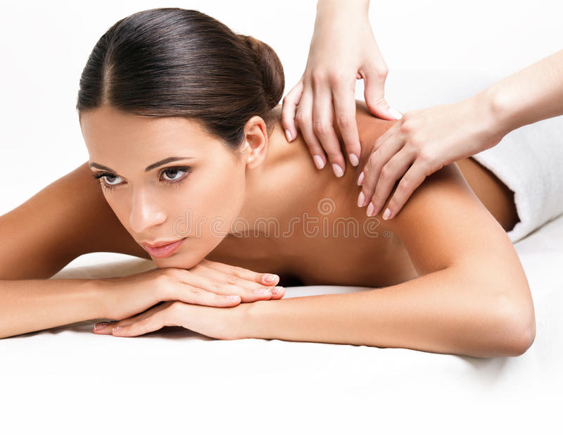 Spa Woman. Close-up of a Beautiful Woman Getting Spa Treatment. stock photo