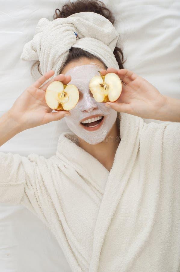 Spa Woman with Facial krem Mask stock images
