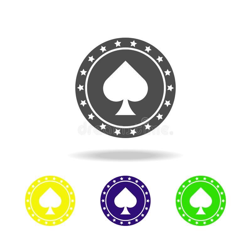 spaander in de piekcasino gekleurde pictogrammen Element van casino gekleurde pictogrammen Kan voor Web, embleem, mobiele toepass vector illustratie