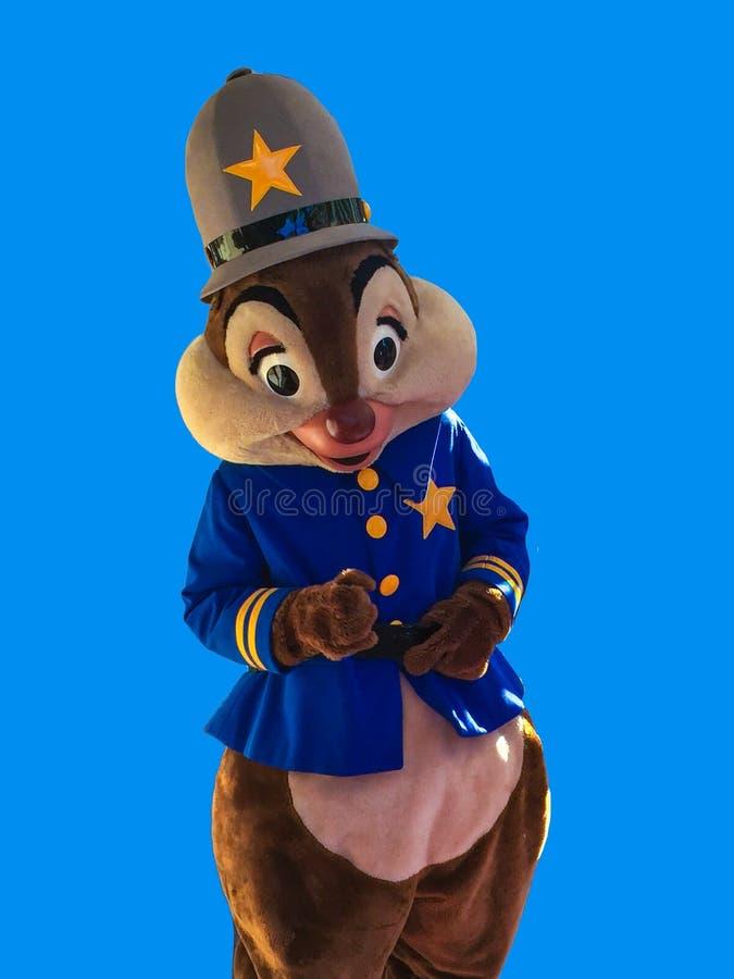 Spaander en Dale Disney Character op Blauwe Achtergrond stock foto
