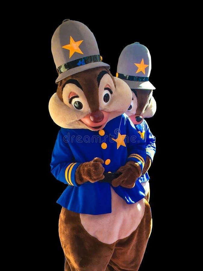 Spaander en Dale Disney Characters op Zwarte Achtergrond stock foto