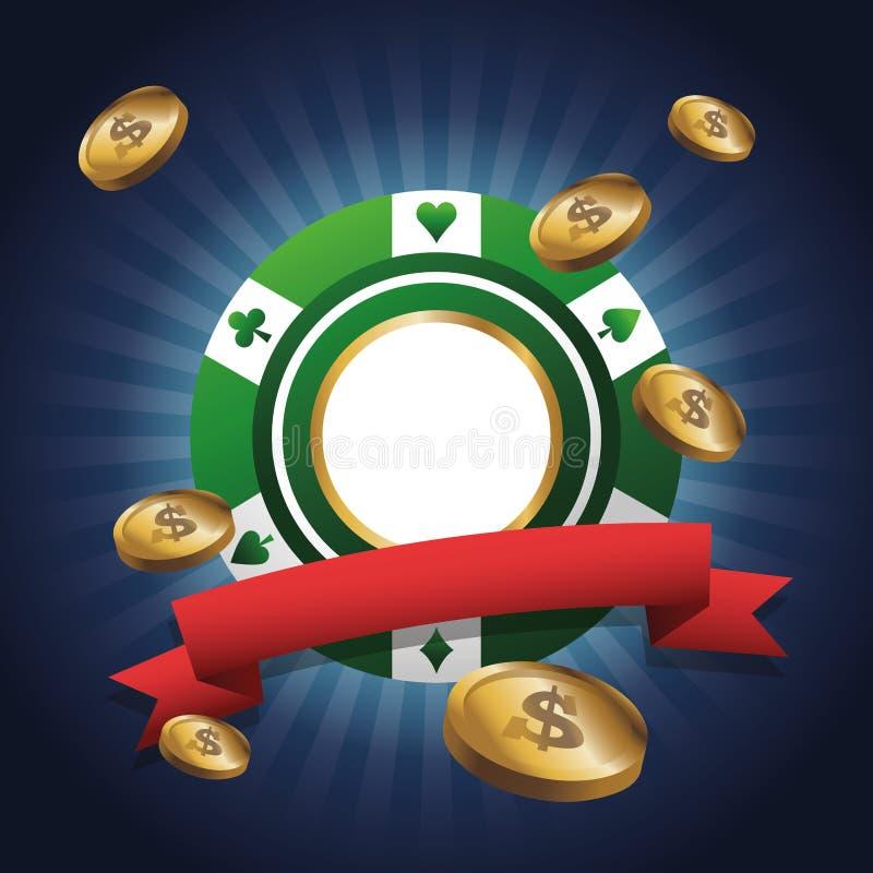 Spaander en muntstukken van casinoontwerp stock illustratie