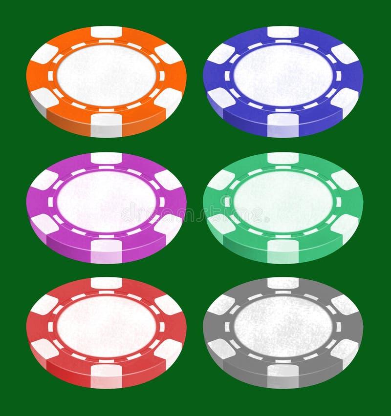 Spaanders voor het spelen van een pook en een roulette stock illustratie