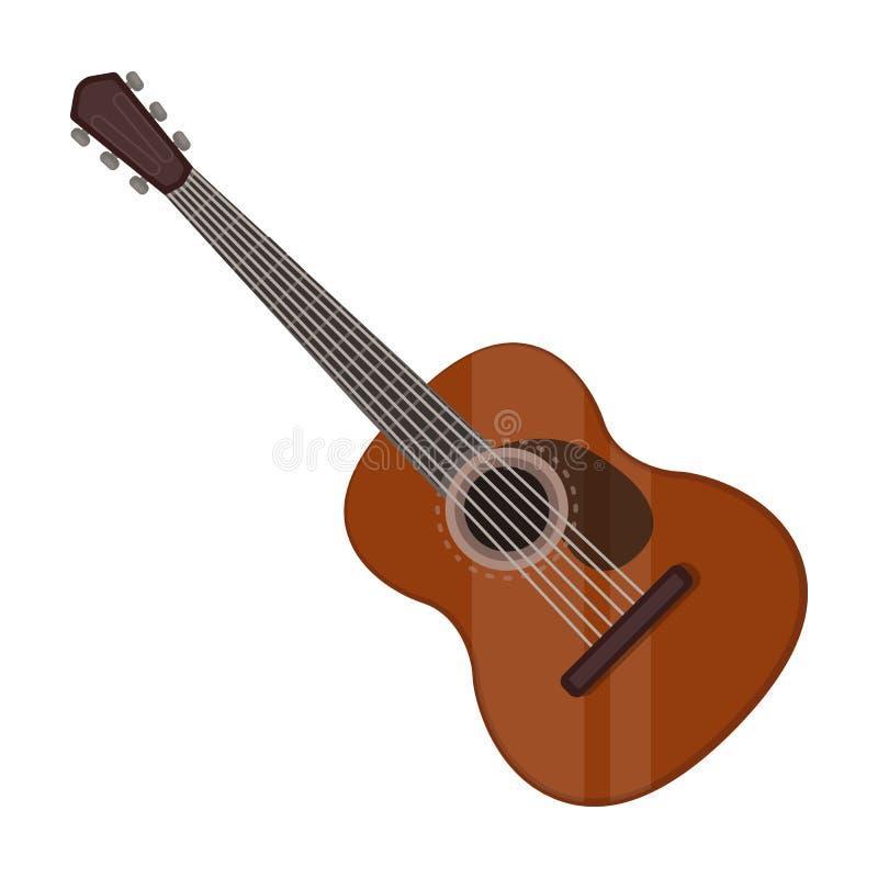 Spaans akoestisch die gitaarpictogram in beeldverhaalstijl op witte achtergrond wordt geïsoleerd De vector van de het symboolvoor vector illustratie