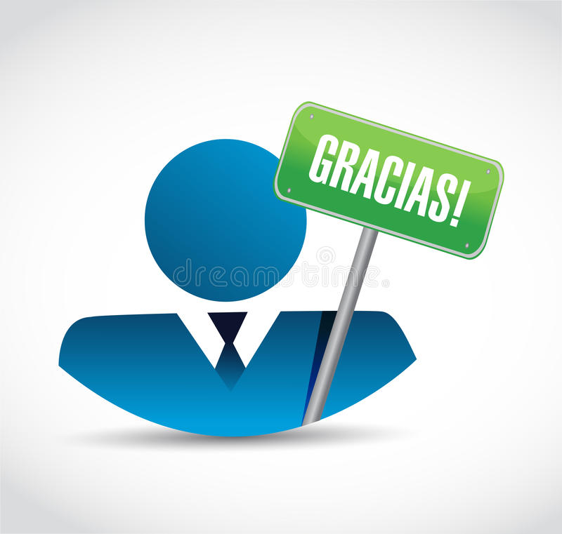 Spaans avatar van het dankbericht teken royalty-vrije illustratie