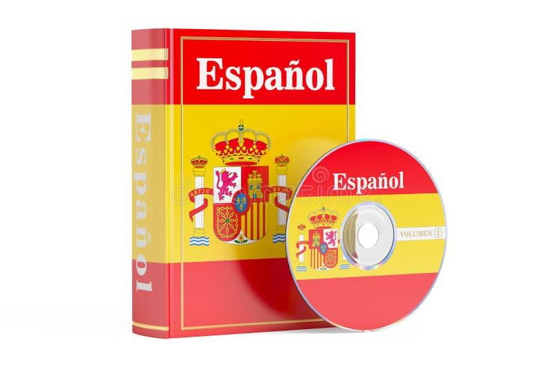 Spaans boek met vlag van de schijf van Spanje en CD, het 3D teruggeven stock illustratie
