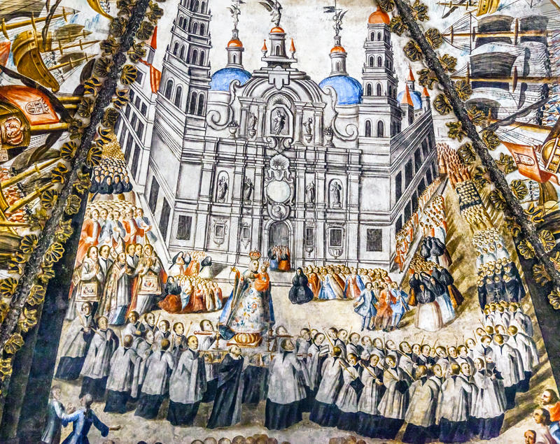 Spaans de Freskoheiligdom van Sevilla van Jesus Atotonilco Mexico stock afbeelding
