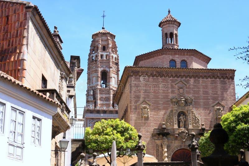 Spaans dorp in Barcelona, Spanje stock foto's