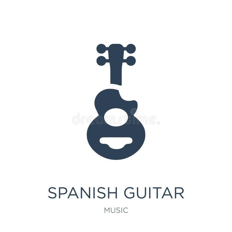 Spaans gitaarpictogram in in ontwerpstijl Spaans die gitaarpictogram op witte achtergrond wordt geïsoleerd Spaans eenvoudig gitaa stock illustratie