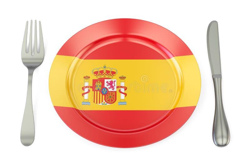 Spaans keukenconcept, plaat met vlag van Spanje het 3d teruggeven stock illustratie
