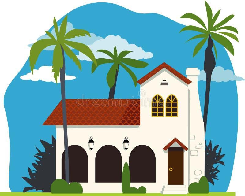 Spaans koloniaal huis stock illustratie