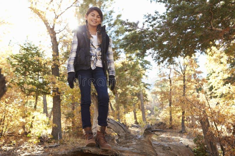 Spaans meisje op gevallen boom in een bos die aan camera kijken royalty-vrije stock afbeeldingen