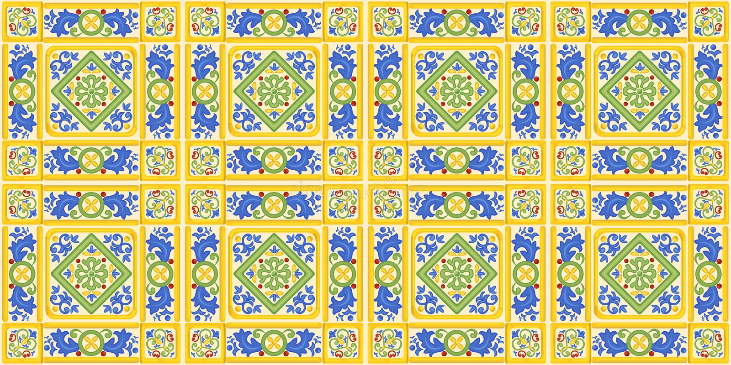 Spaans ornament, naadloze achtergrond, patroon, kleurrijk decor met geometrische cijfers stock illustratie