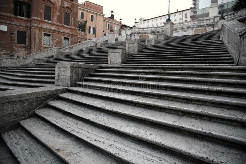 Spaans vierkant met Spaanse Stappen in Rome Italië royalty-vrije stock foto