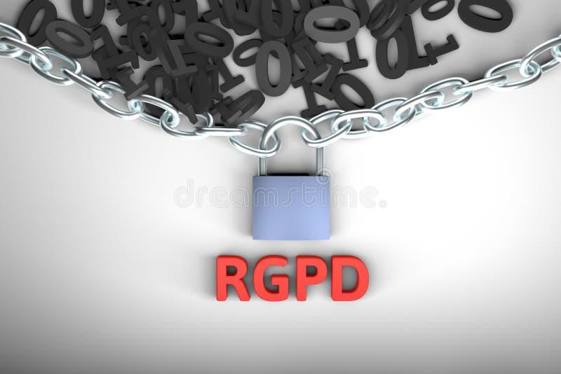 Spaanse en Italiaanse versieversie de van RGPD, van GDPR: Regolamento generale sulla dati van protezionedei Concept het 3D terugg vector illustratie