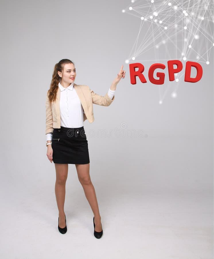 Spaanse, Franse en Italiaanse versieversie de van RGPD, van GDPR: Reglamento General DE Proteccion DE datos Algemene Gegevens royalty-vrije stock foto's