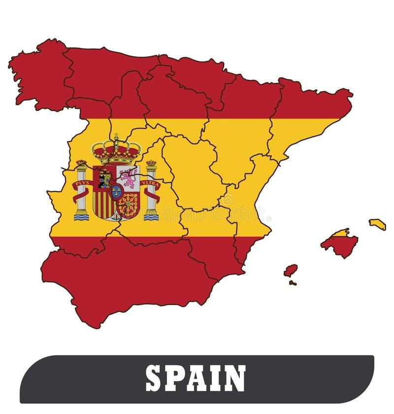 Spaanse Kaart en Spaanse Vlag royalty-vrije illustratie