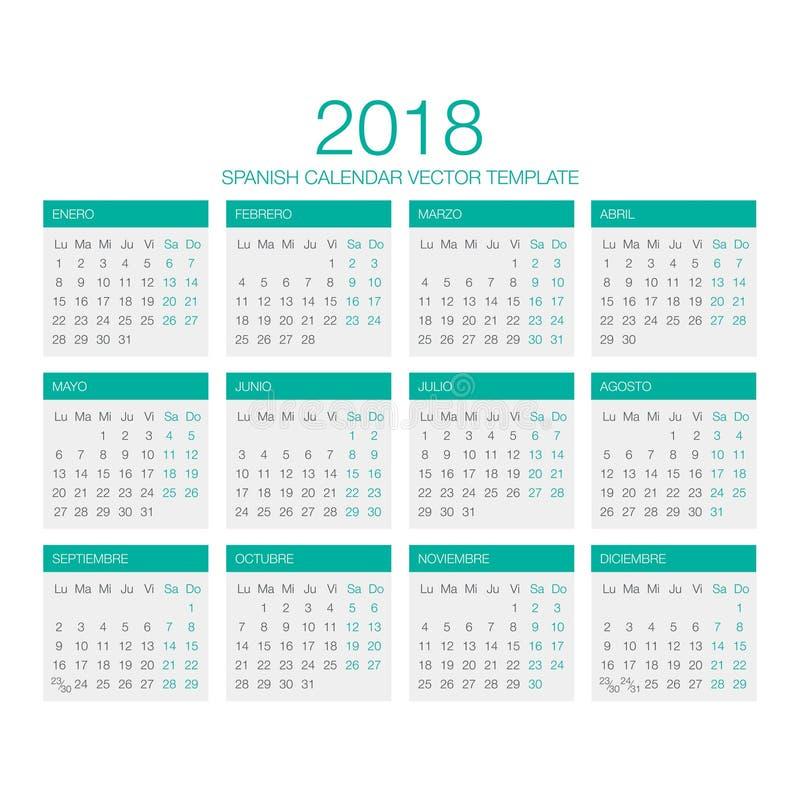 Spaanse Kalendervector 2018 stock foto