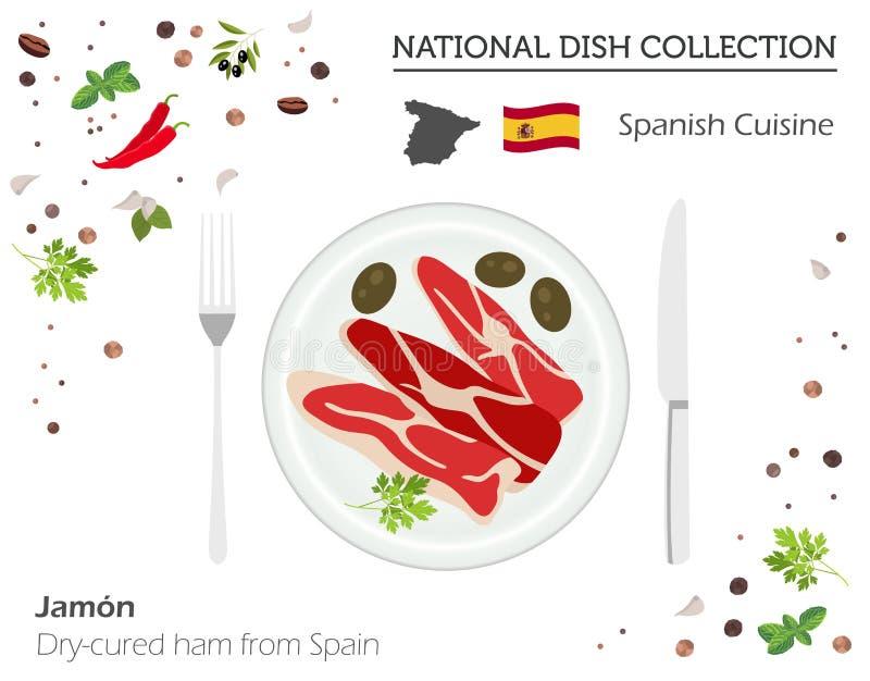 Spaanse Keuken Europese nationale schotelinzameling Droog-genezen Ha royalty-vrije illustratie