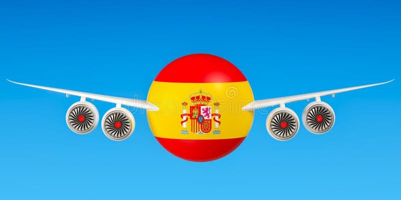 Spaanse luchtvaartlijnen en het vliegen ` s, vluchten aan het concept van Spanje 3d trek uit stock illustratie