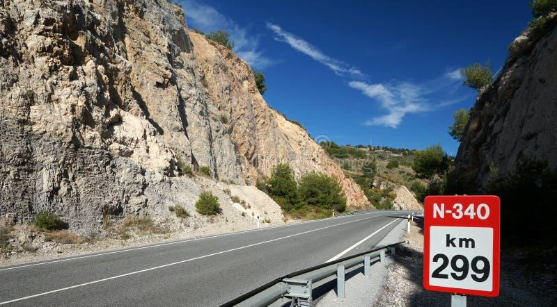 Spaanse Mediterrane Kustweg stock foto's