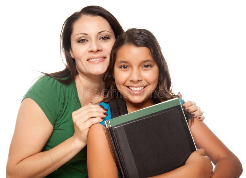 Spaanse Moeder en Dochter Klaar voor School stock afbeelding